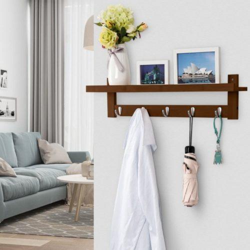 5. LANGRIA Bamboo Brown Coat Rack with Shelf