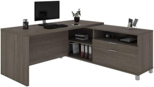 7. Bestar Universel Collection L Shaped Home Office Desk with Storage Space - Executive Large Desk