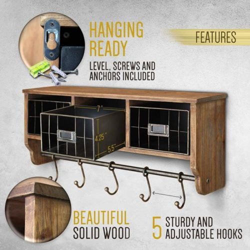 6. HBCY Creations Wall Mounted Coat Rack with Shelf