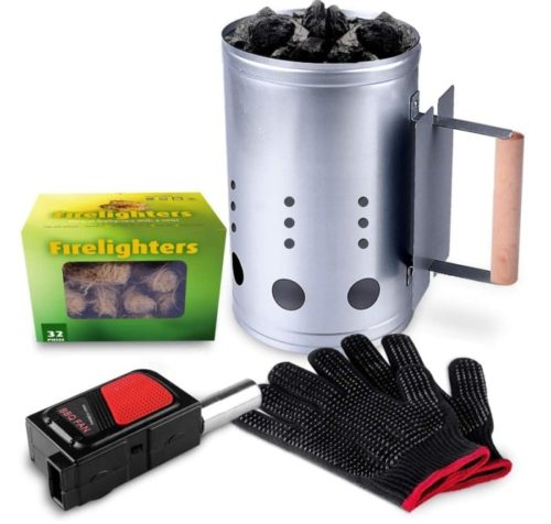 HOMENOTE Rapid Chimney Charcoal Lighter with Glove - Cubes BBQ Lighter