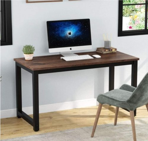 6. Tribesigns Vintage Modern Computer Desk with Rustic Brown
