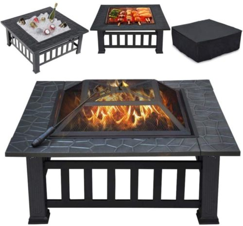 6. YAHEETECH Outdoor Metal Square Fire Pit Table with Spark Screen and Cover