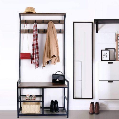 7. HomeKoko Accent Wood Furniture Coat Rack with Shelf
