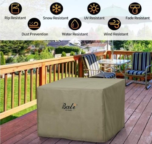 8. BALI OUTDOORS Durable Square Fire Pit Cover with PVC Coating
