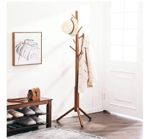 8. FILWH Bamboo Adjustable Coat Rack