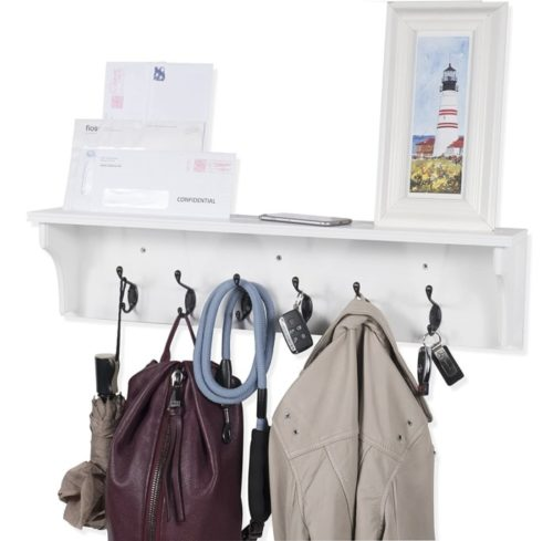 9. Brightmaison Solid Wood Coat Rack Wall Mounted with Shelf