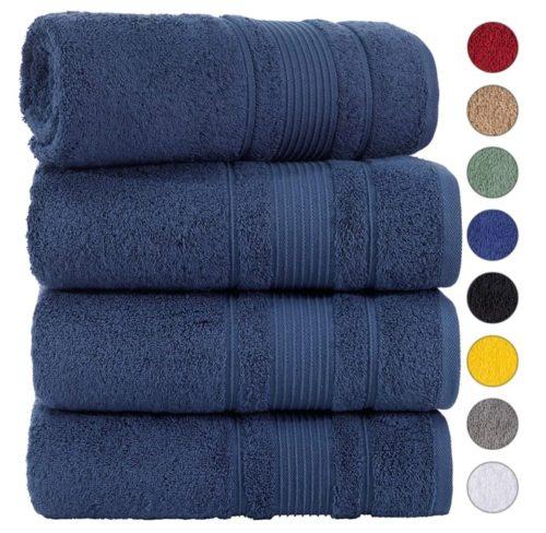 9. Qute Home 100% Cotton Turkish Bath Towels Set