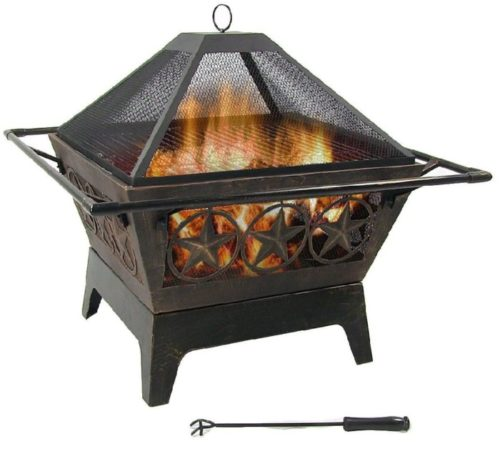 9. Sunnydaze Galaxy Outdoor Wooden Burn Square Fire Pit Table