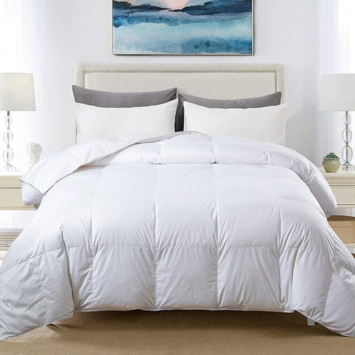 Cosbay 100% Cotton Quilted Down Comforter