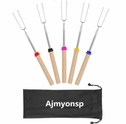 Ajmyonsp Campfire Marshmallow Roasting Sticks with Wooden Handle for Sausage and Firepit