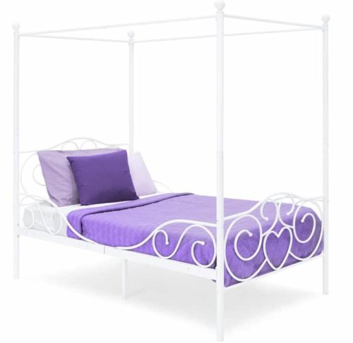 Best Choice Products White Twin Bed Frame with Headboard and Heart Scroll Design - Twin Metal Bed Frame