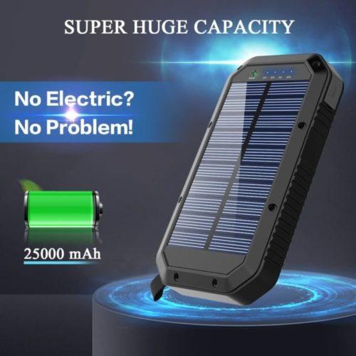 GoerTek Portable Panel Patriot Power Cell Charger External LIT Solar Power Bank with LED Flashlight for Smartphones