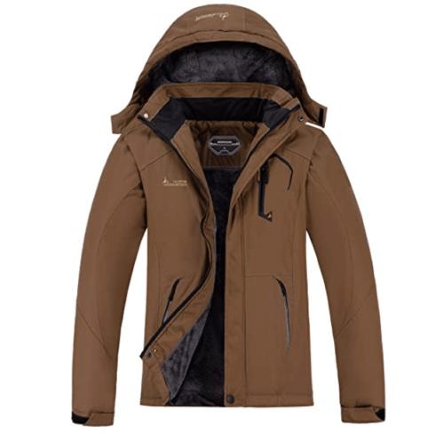 1. MOERDENG Waterproof Winter Snow Brown Coat for Men - Best Mountain Brown Jacket with Hooded