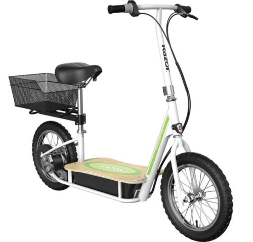 Razor EcoSmart Metro Electric Scooter with Wide Bamboo Deck and Air Tires, Razor Electric Scooter with Seat and Rear Wheel Drive