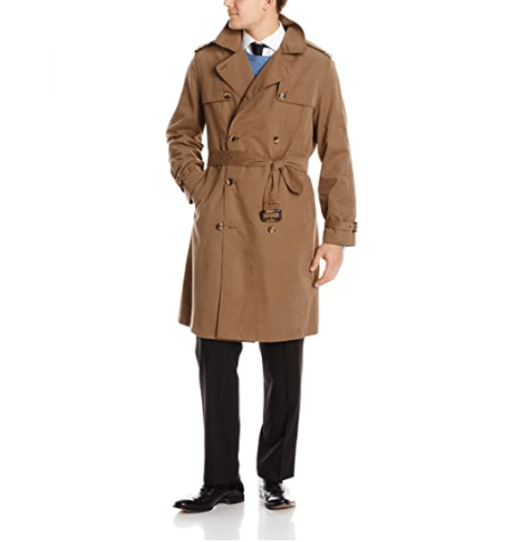 London Fog Twill Belted Brown Trench Coat for Men