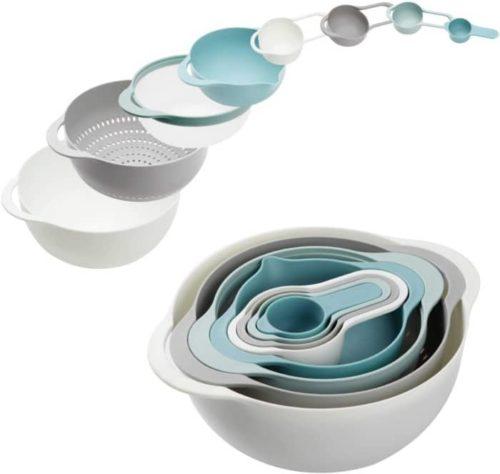 Pantula Plastic Colander and Mix Blue Bowl Set Plus Measuring Cups