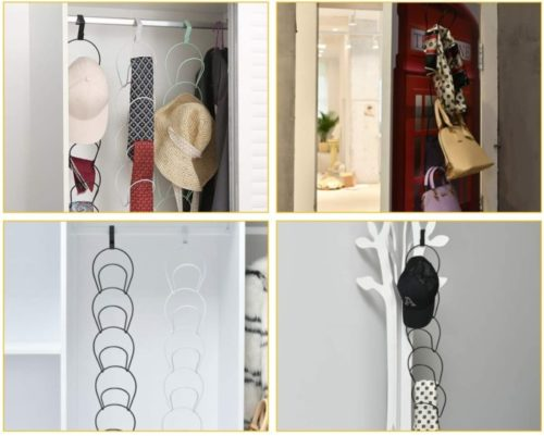 10. QsQueen Hat Rack Organiser with 10 Rings Multi-Functional Door