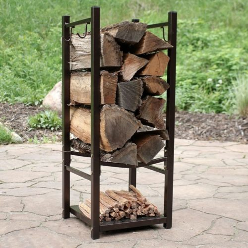 Sunnydaze Firewood Rack and Fireplace Poker Holder with Durable Steel - Indoor and Outdoor Fire Poker Tool and Decor