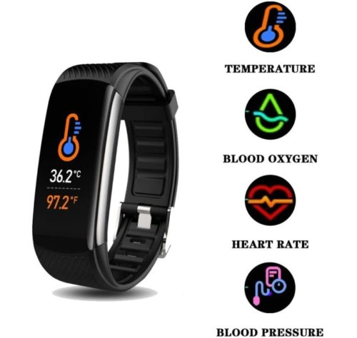Blumelody Smart Band Activity Fitness Tracker with Body Temperature Thermometer Step Counter, Waterproof o2 Fitness for Men and Women
