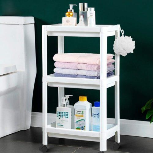 11. Flowmist Slim Rolling Bathroom Towel Storage Cart Organizer