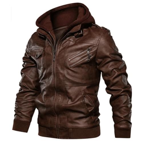11. Landscap Motorcycle Brown Jacket Fashion, Vintage Casual Brown Coat for Men