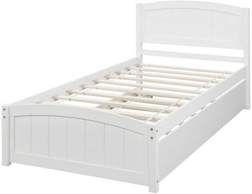 Rockjame Wooden White Twin Bed Frame with Traditional Trundle for Kids and Adults