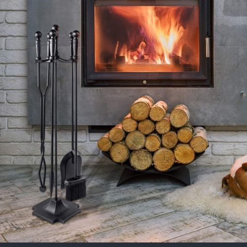 WBHome Iron Fireplace Poker Set with Pedestal Place - Long Tongs Fire Poker