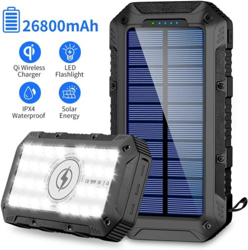 GRDE Patriot Power Cell Portable Wireless Lit Solar Powerbank Panel with LED and USB Output Port Power Lit Mobile for Camping