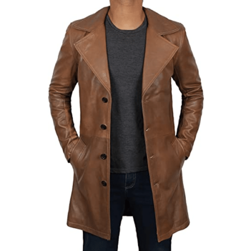 Leather Brown Trench Coat for Men - 100 Percent Leather Men Brown Jacket