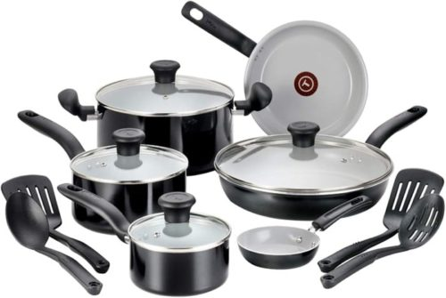 12. T-fal Ceramic 14-Piece Cookware Set