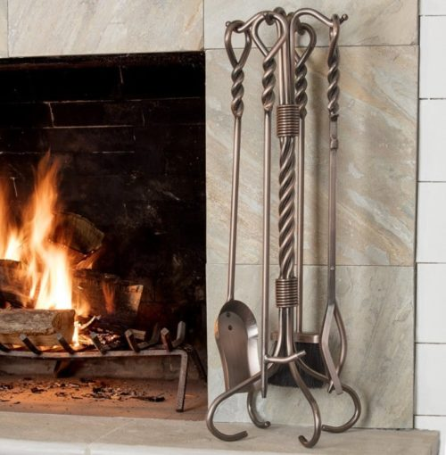 Uniflame Antique Copper Fireplace Poker set with Ring Handles