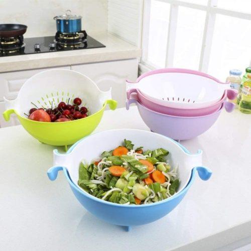 CHICHIC Pasta Strainer, Plastic Strainer, Plastic Colander, and Bowl for Fruits