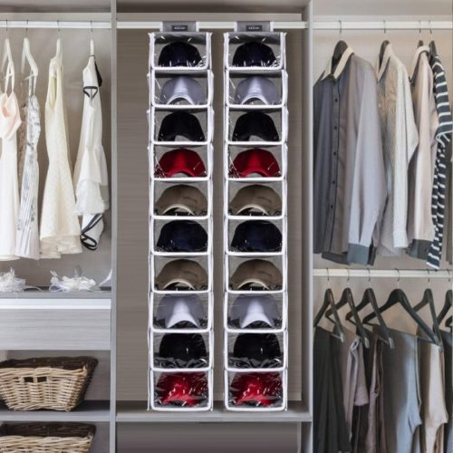 13. KEEGH Baseball Hat Rack Organizer with 10 Shelf Closet