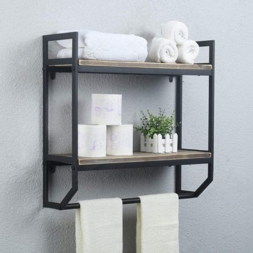 MBQQ Metal Bathroom Towel Storage Shelve Over Toilet - DIY Floating Shelf Ideas To Maximise Your Space