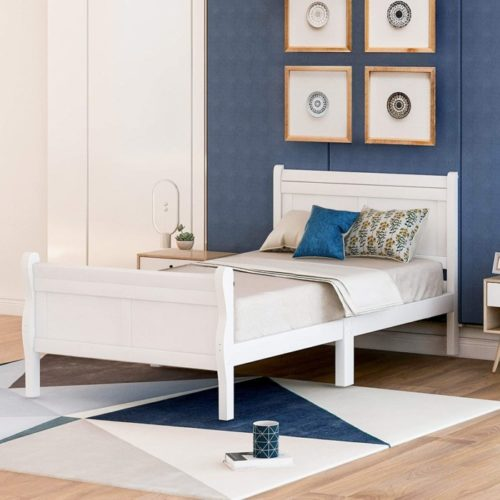 HWT Wooden Slat White Twin Bed Size - Twin Bed Frame with Headboard