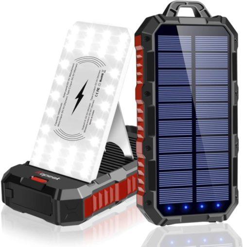 Kopeak Patriot Power Cell Portable Wireless Lit Solar Powerbank with Adjustable Phone Holder and LED Flashlights Huge Capacity Powerbank Lit Mobile