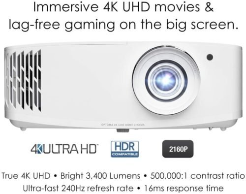 Optoma True UHD Ceiling Projector Enhanced for Gaming and Movies