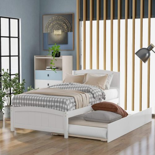 Fat Ant Wooden White Twin Bed Size with Traditional Trundle - Twin Bed Frame with Headboard