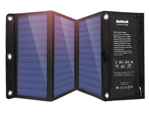 Nekteck Portable Waterproof LIT Solar Power Bank Charger with USB Port for Camping Lit Mobile