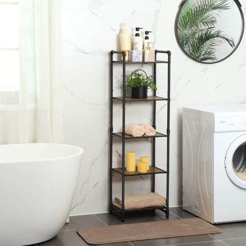 15. VASAGLE Bathroom Towel Storage with Adjustable Shelf - DIY Towel Storage Shelf Ideas