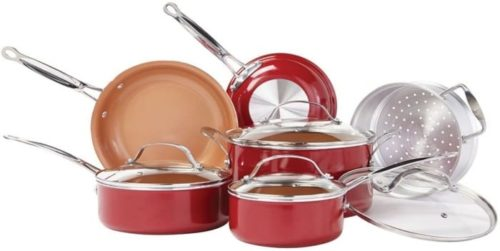 2. BulbHead Red Ceramic Non-Stick Cookware Set