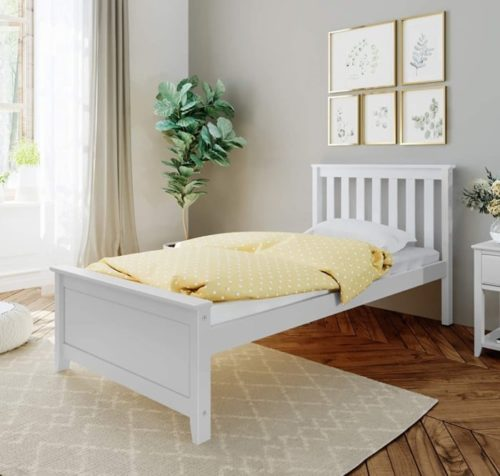 Max & Lily Wood White Twin Bed Frame with Headboard