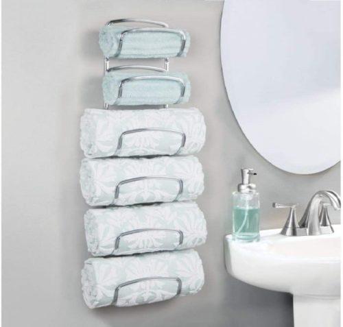 2. mDesign Six Level Wall Mounted Towel Rack For Rolled Towels Organizer - DIY Bathroom Towel Storage Ideas