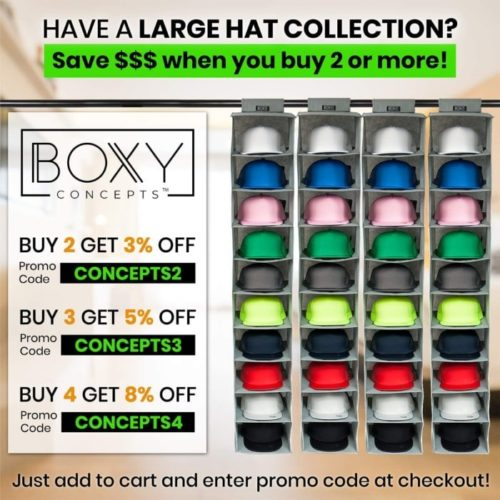 3. Boxy Concepts Hat Rack with 10 Shelf Hanging Organizer