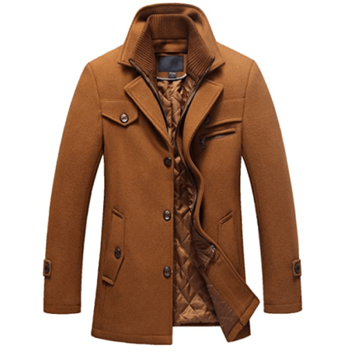 Chouyatou Quilted Lined Wool Bronw Coat for Men - Brown Pea Coats
