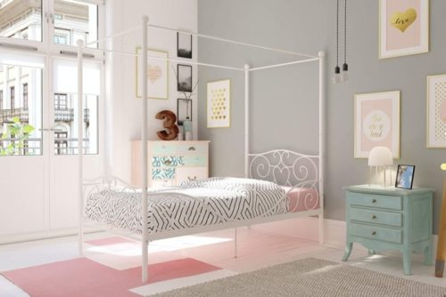 DHP Canopy Sturdy White Twin Bed - Twin Metal Bed Frame