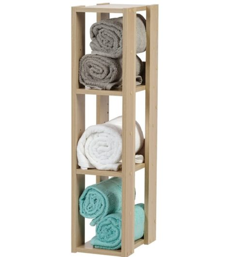 3. IRIS USA Wooden Bathroom Towel Storage Ideas