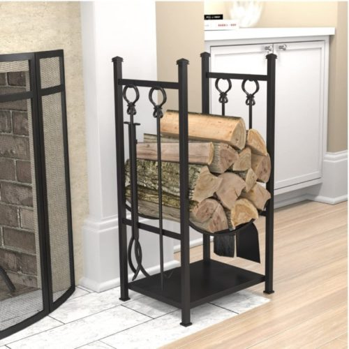 Panacea Log Bin Fireplace Poker Tool Set - Wood Rack Fire Poker Holder