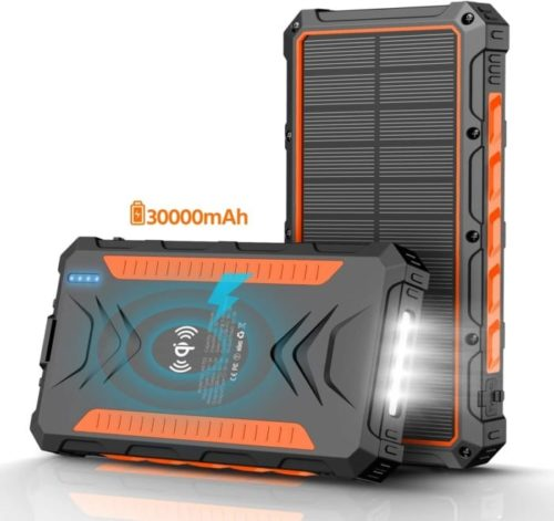 QiSa Portable Patriot Power Cell Waterproof High-Speed LIT Solar Power Bank with LED Flashlight for Smartphones