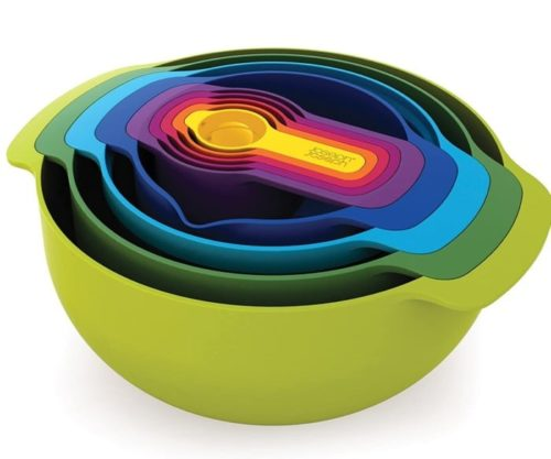 4. Joseph Joseph Plastic Colander and Mix Blue Bowl Sets with Measuring Cup